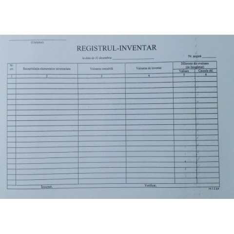 Registru inventar orizontal, 31 dec