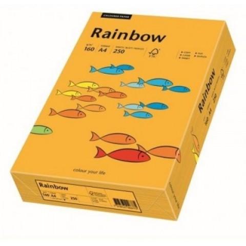 Hartie colorata, portocaliu mediu, A4, 160 g/mp, Rainbow