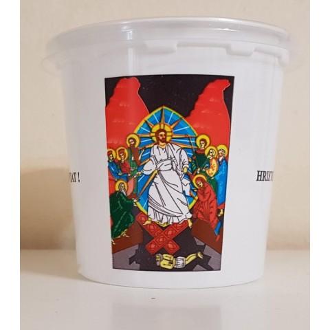 Pahare de PAŞTE, de plastic cu capac, 350 grame, 300 bucati