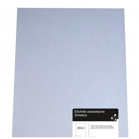 Etichete PET albe luciose, pt imprimanta laser, SRA3, 100 coli