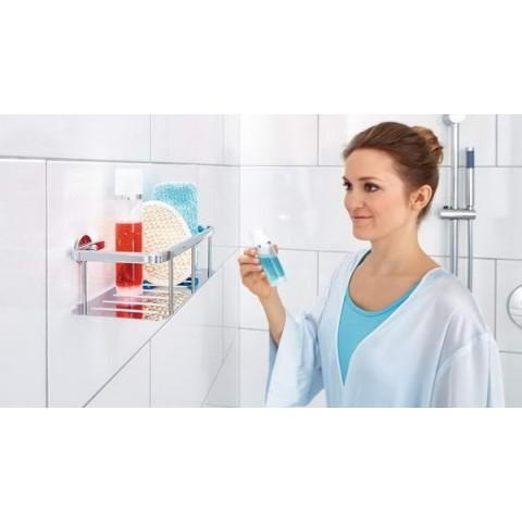 Etajeră autoadezivă pentru baie tesa® Aluxx cu 1 raft, din aluminiu cromat