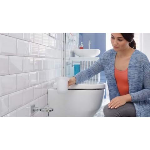 Suport autoadeziv, pentru perie de toaletă, tesa® Hukk, metal cromat