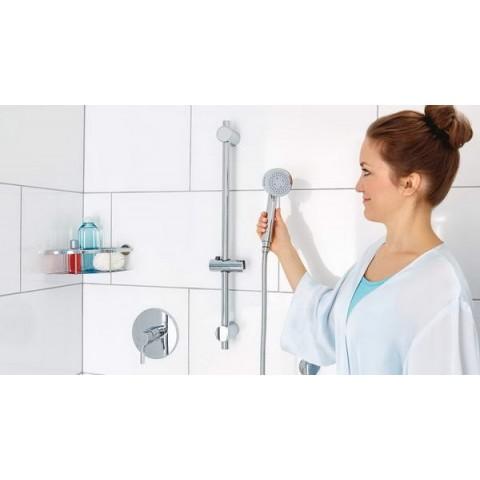 Set autoadeziv, pară de duș, tesa® Spaa, cu cadru cu pară, elemente metal & plastic cromate