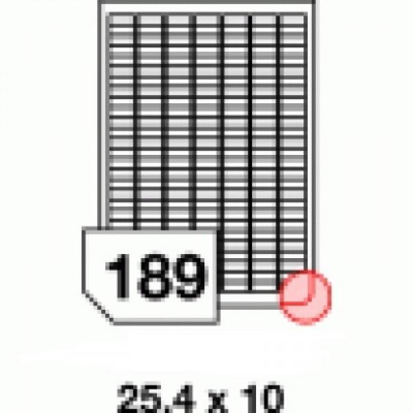 Etichete autoadezive multifuncţionale, 189 buc./A4, dimensiune 25.4x10 mm