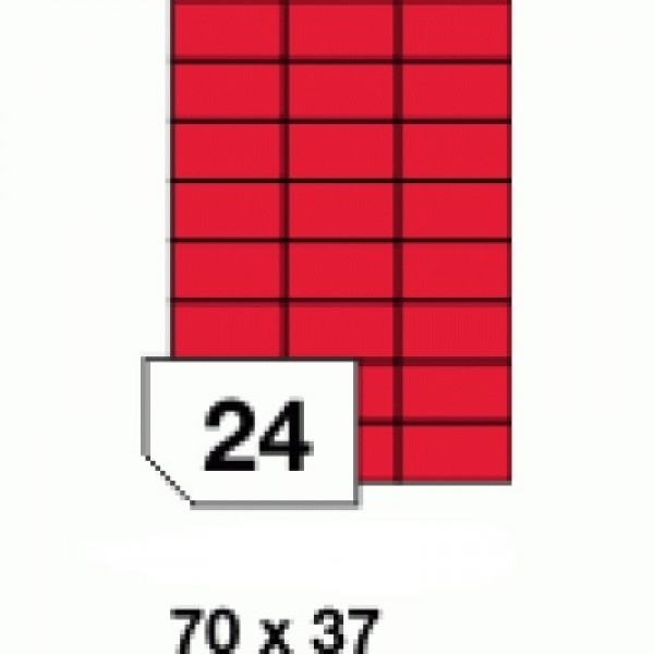 Etichete autoadezive colorate, rosu fluorescent, 24 buc./A4
