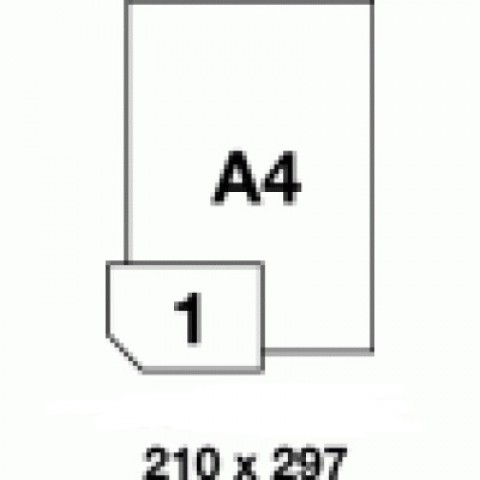 Hârtie autocolanta, PET alba mata  - 1 buc./A4, dimensiune 210X297 mm