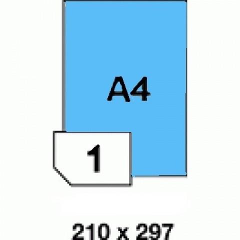 Hârtii autoadezive colorate -  albastru mat - 1 buc./A4