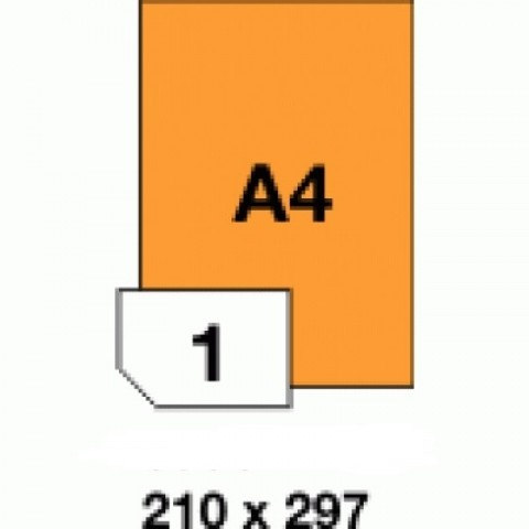 Etichete autoadezive colorate, orange fluorescent, 1 buc./A4