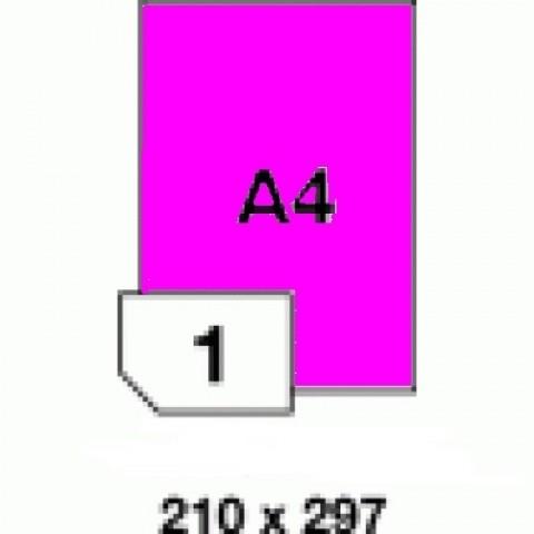 Etichete autoadezive colorate, roz fluorescent, 1 buc./A4