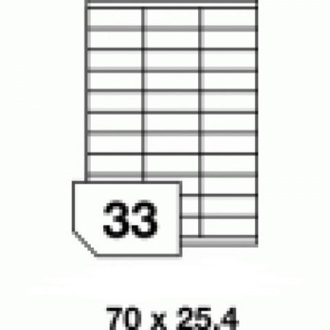 Hârtie autocolantă - 33 buc./A4, dimensiune 70x25.4 mm