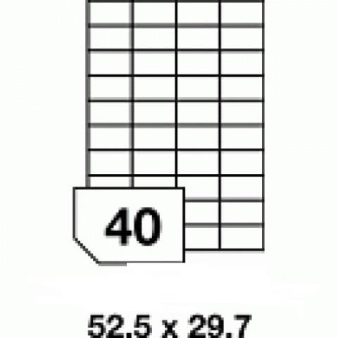 Hârtie autocolantă - 40 buc./A4, dimensiune 52.5x29.7 mm