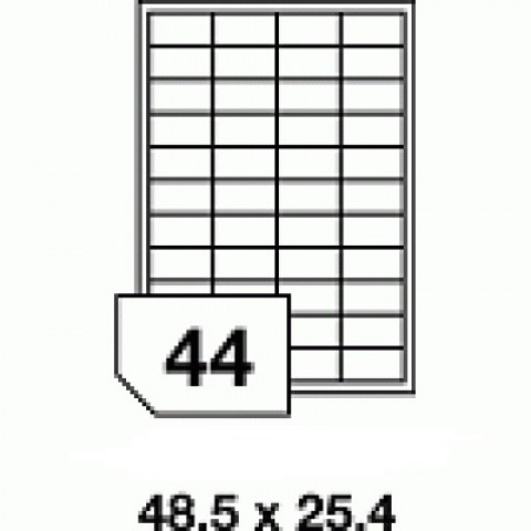 Hârtie autocolantă - 44 buc./A4, dimensiune 48.5x25.4 mm