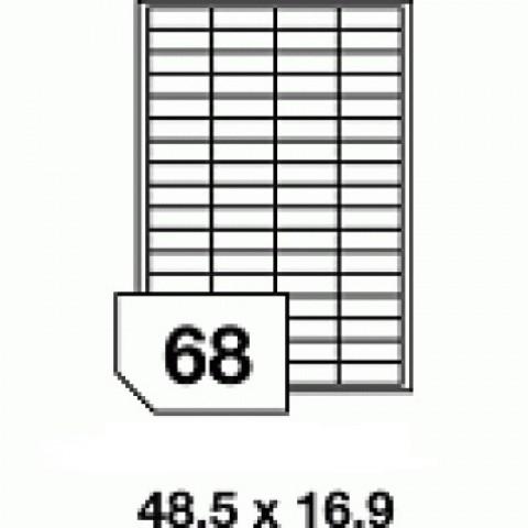 Hârtie autocolantă - 68 buc./A4, dimensiune 48.5x16.9 mm