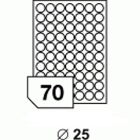Hârtie autocolantă rotundă 25 mm