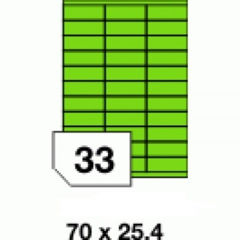 Etichete autoadezive colorate, verde fluorescent, 33 buc./A4
