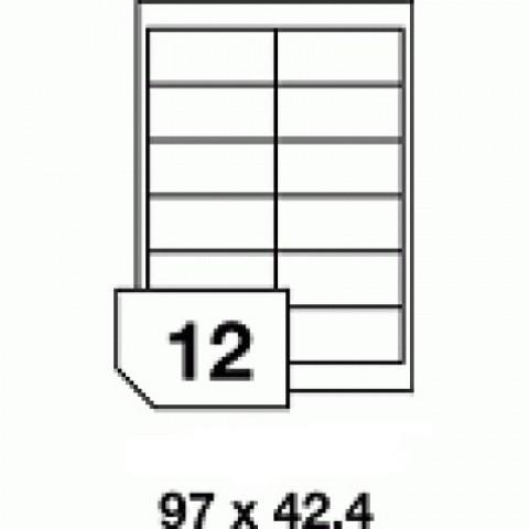 Hârtie autocolantă - 12 buc./A4, dimensiune 97x42.4 mm