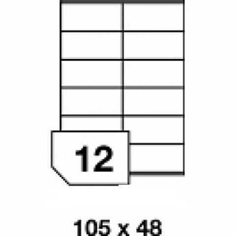 Hârtie autocolantă - 12 buc./A4, dimensiune 105x48 mm