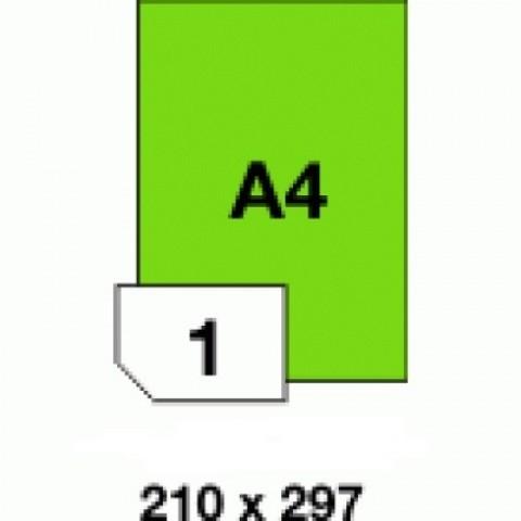 Hartie autocolanta colorata, verde fluorescent, 1 buc./A4