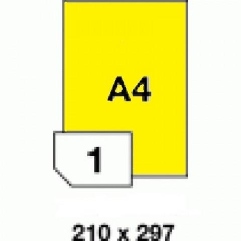 Hârtii autoadezive colorate -  galben fluorescent - 1 buc./A4