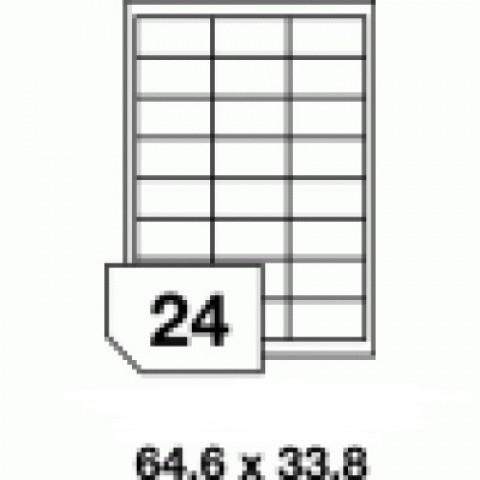 Hârtie autocolantă - 24 buc./A4, dimensiune 64.6x33.8 mm