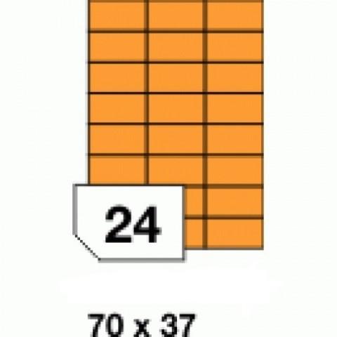 Hârtie autocolantă colorata, orange fluorescent, 24 buc./A4