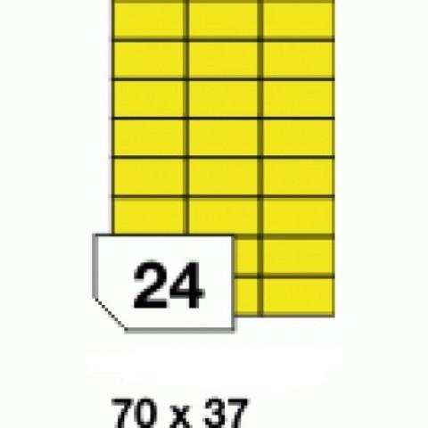 Hârtii autoadezive colorate -  galben fluorescent - 24 buc./A4