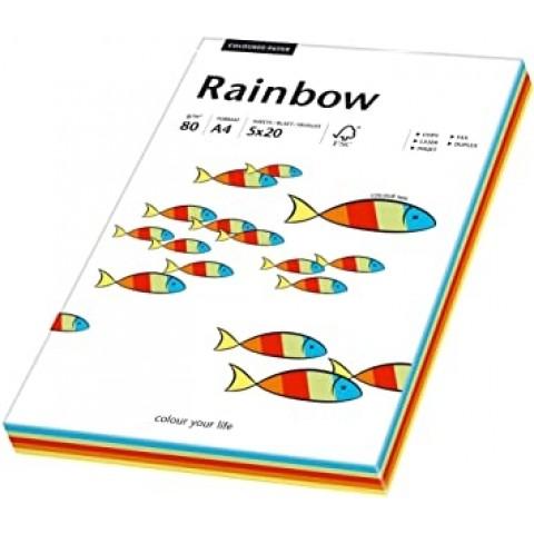 Hartie colorata, mix Intens, Rainbow, A4, 80 g/mp