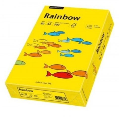 Hartie colorata, galben intens, A4, 80 g/mp, Rainbow