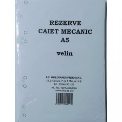 Rezerve caiet mecanic, 4 gauri, format A5, veline