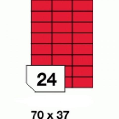 Etichete autoadezive colorate, rosu mat, 24 buc./A4