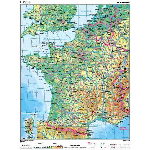 Franţa harta fizico - geografică