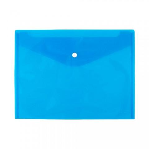 Mapa plastic cu buton A4 transparent albastru, D.rect