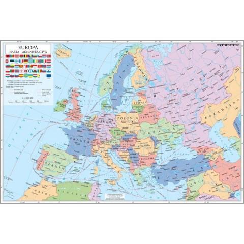 Europa - harta administrativă + harta contur