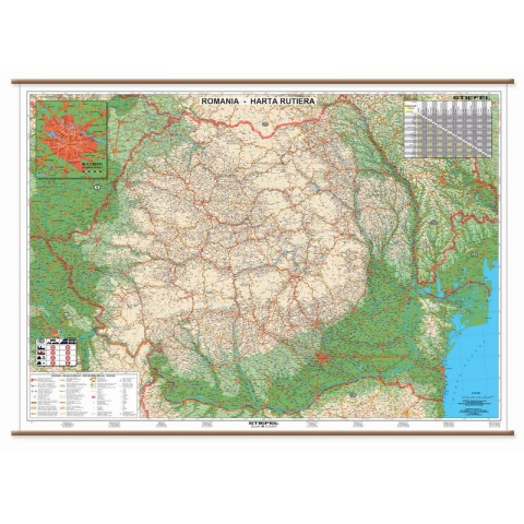 România, harta rutieră, 60 x 120 cm