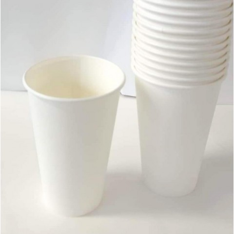 Set 50 pahare de carton, albe, 473 ml (16 oz)