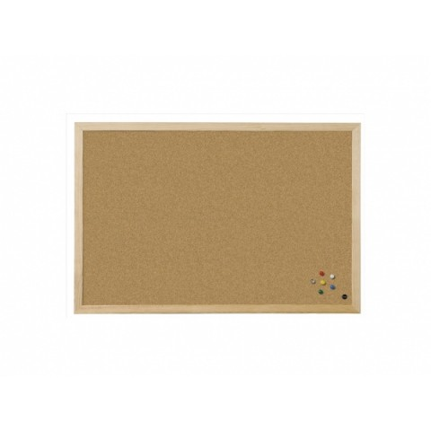 Panou afisaj pluta, 30*40 cm, profil lemn, Bi-Office