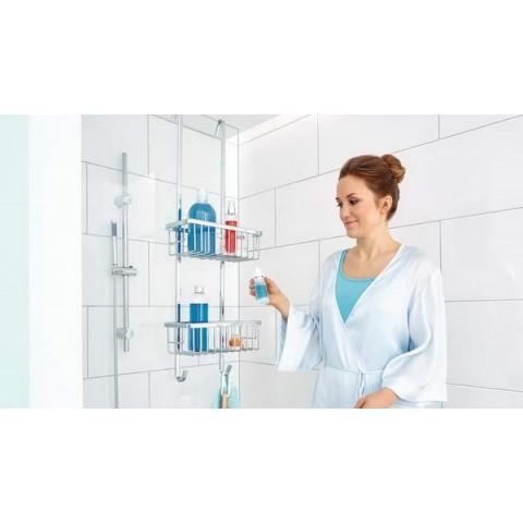 Organizator pentru duș tesa® Aluxx, din aluminiu cromat, cu cârlige pentru suspendare.