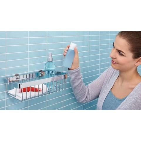 Poliță inox autoadezivă pentru baie tesa® Aluxx, aluminiu cromat.