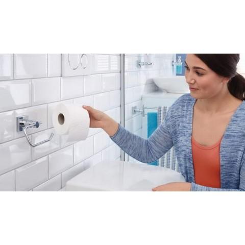 Suport autoadeziv de perete pentru hârtie igienică tesa® Hukk, metal cromat.