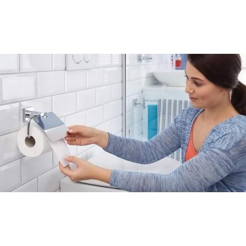 Suport autoadeziv de perete pentru hârtie igienică tesa® Hukk, cu capac, metal cromat