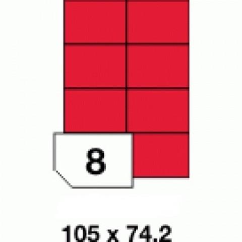 Etichete autoadezive colorate, rosu fluorescent, 8 buc./A4