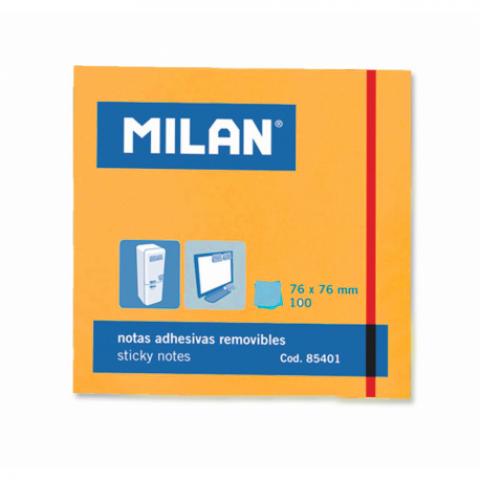 Bloc notes adeziv, 76x76 mm, neon portocaliu, Milan
