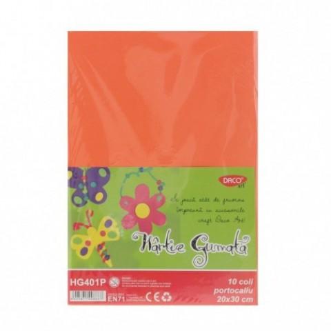 Hartie gumata, 20x30 cm, 10 coli, portocaliu, Daco