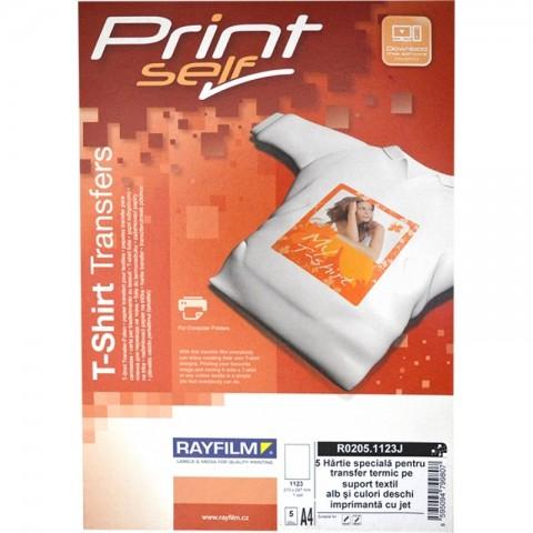 Hartie transfer termic pentru textile albe si culori deschise, A4, pt inkjet, 5 coli