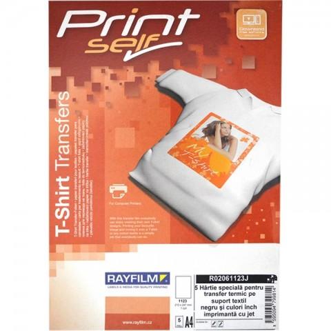 Hartie transfer termic pentru material textil de culori inchise, A4, inkjet, 5 coli