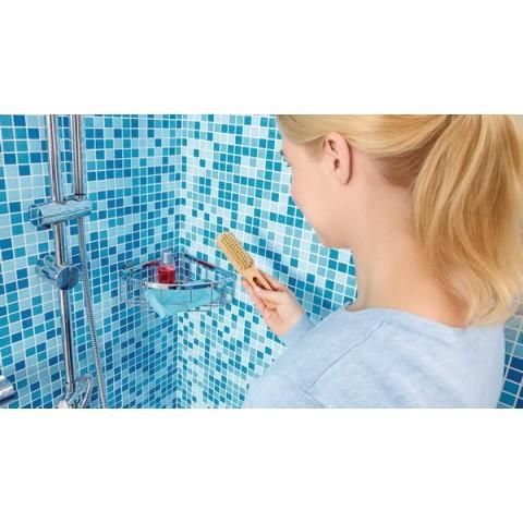 Etajeră autoadezivă de colț, pentru duș, tesa® Aluxx, aluminiu cromat